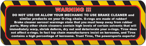 Tirox contains a high percentage of Kerosene. Trust Tirox, the Powersports People!
